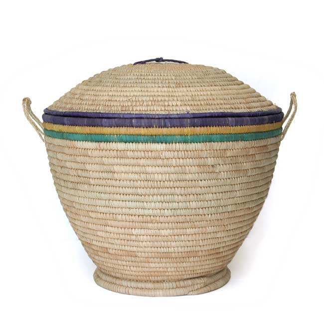 Lidded Storage Basket with Dome Lid – Large (~22in wide)