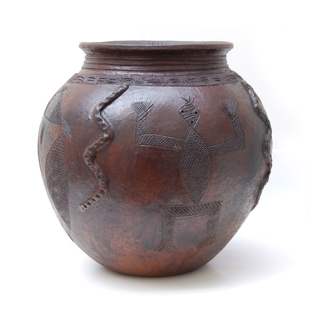 African Pot – Hand-Etched with Snakes & Fish Motif