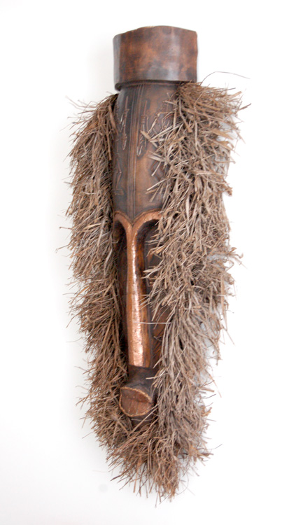 Tall African Mask with Raffia Mane (vintage)