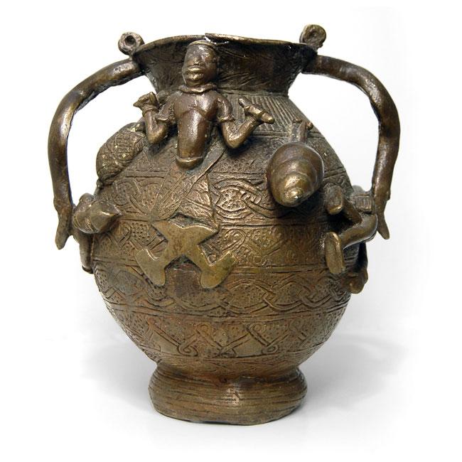 Vintage Benin Bronze Urn Vase For Sale African Collectibles