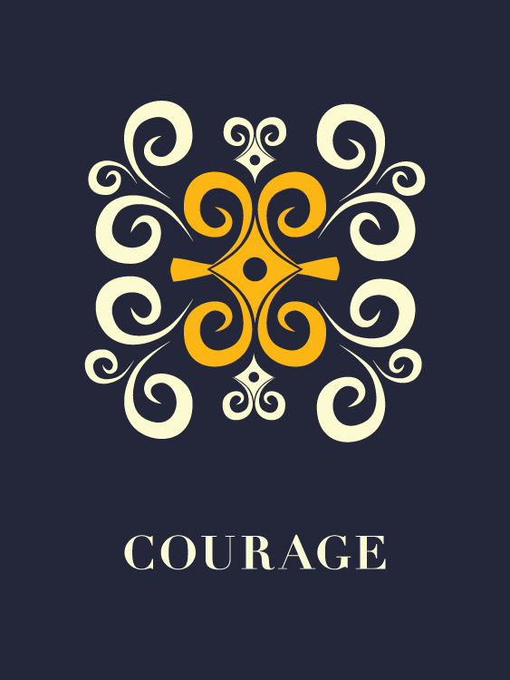 Courage Inspirational Poster With Adinkra Symbol
