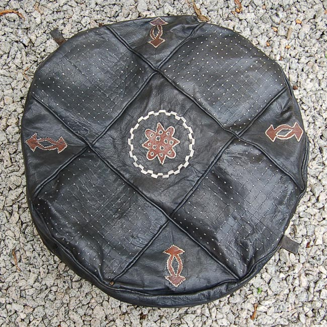 Vintage Black Hausa Leather Pouf / Hassock (Round)