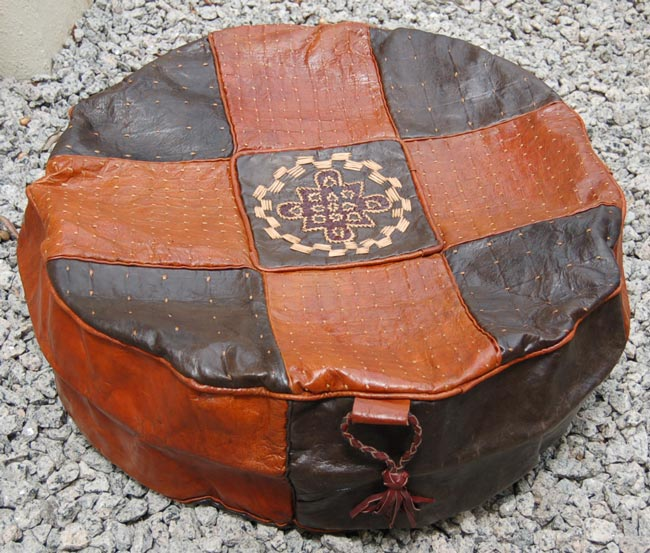 Round Leather West African Pouf Tan Amp Black Afrimod