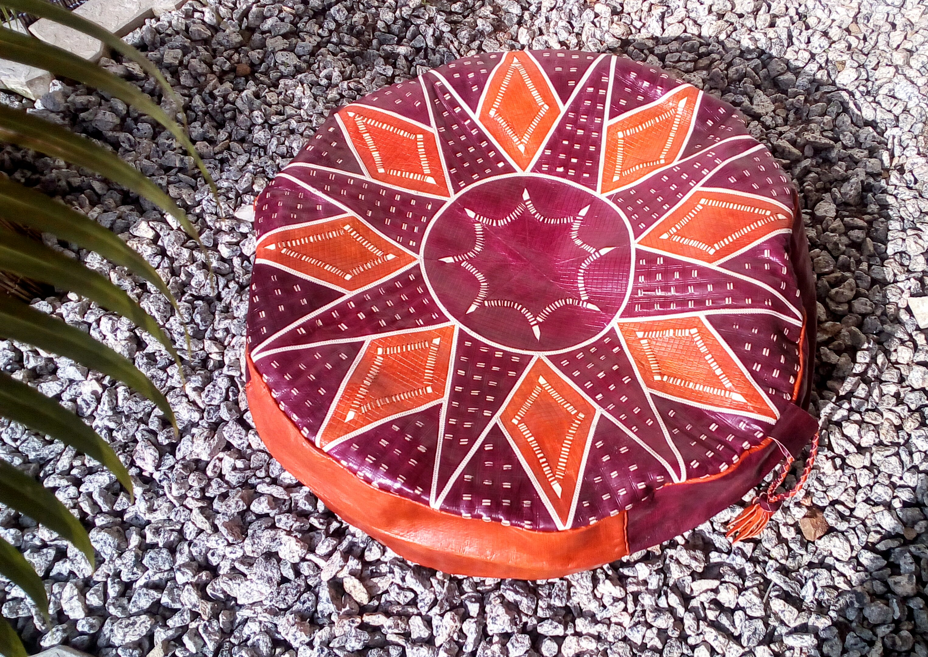 Colorful Hausa Pouf / Hassock (Round)