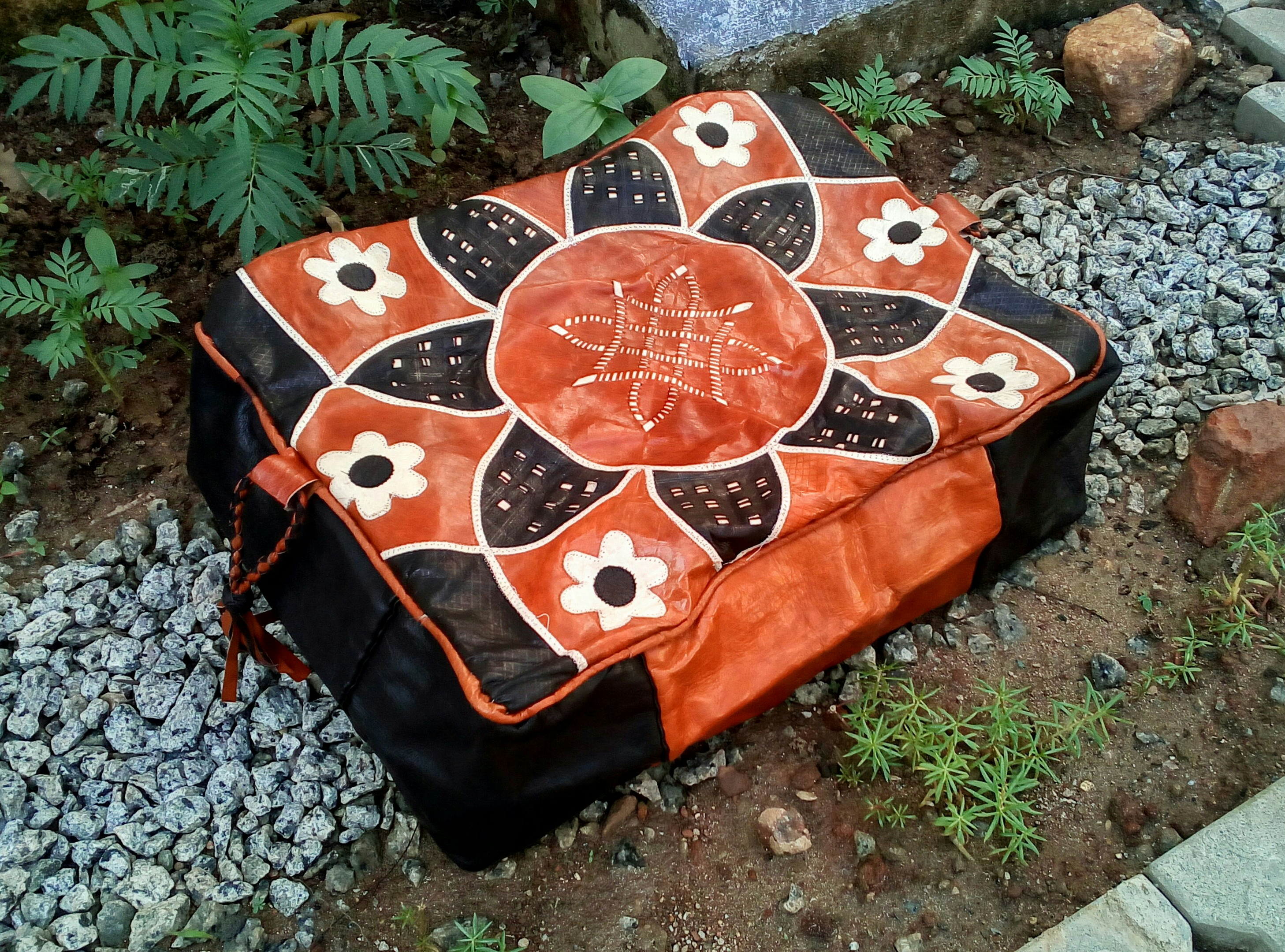Hausa Leather Pouf with Floral Design (Rectangular)