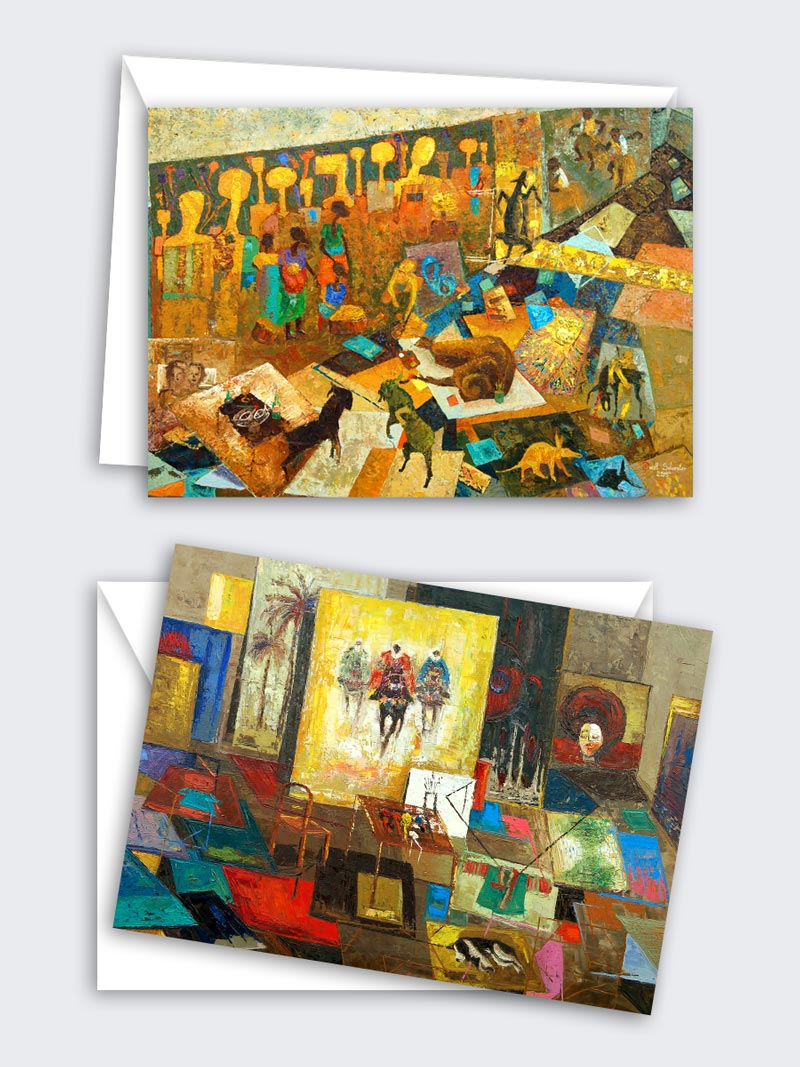 Abstract African Art Card Set (set of 8 blank cards)