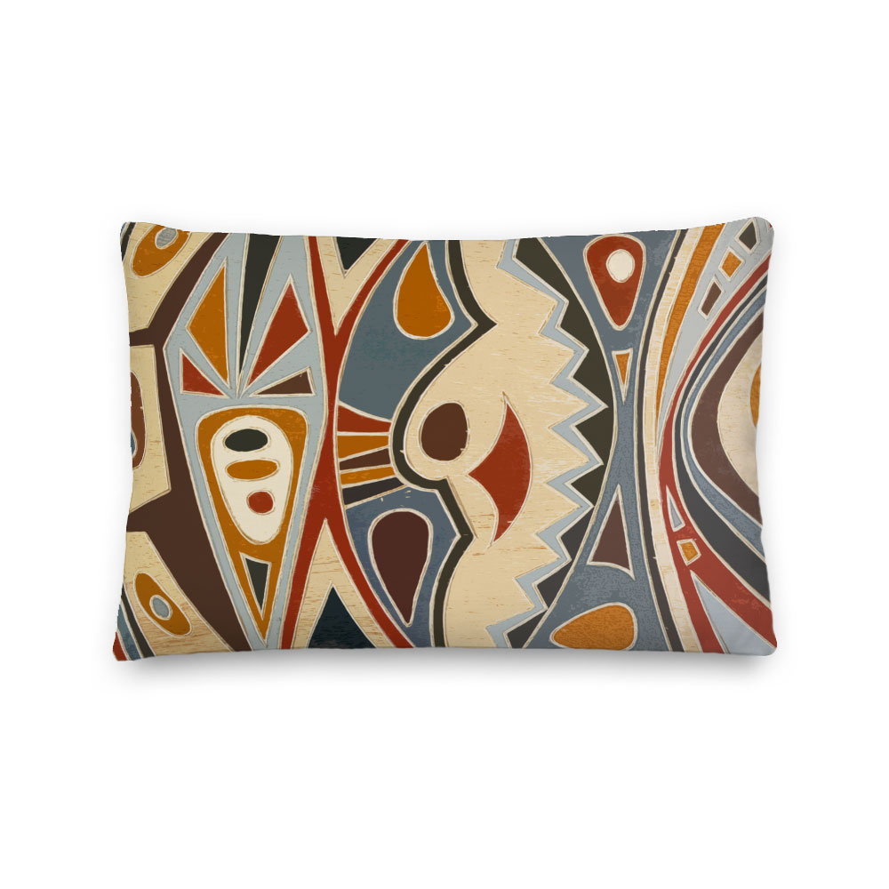 African Abstract Art Lumbar Throw Pillow Afrimod