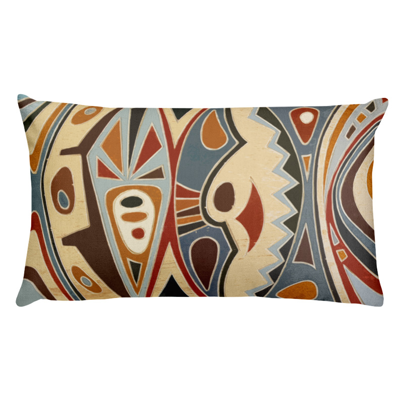 African Abstract Art Lumbar Throw Pillow