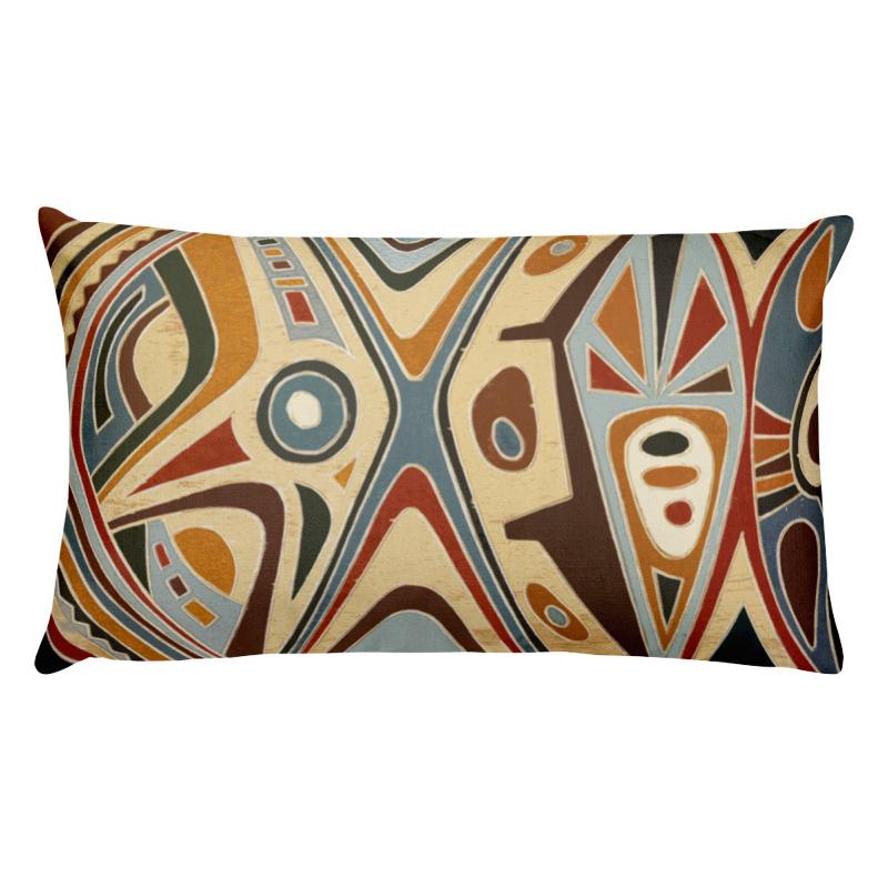 African Abstract Art Lumbar Throw Pillow