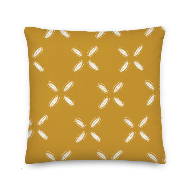 Mustard Cowrie Print Square Throw Pillow