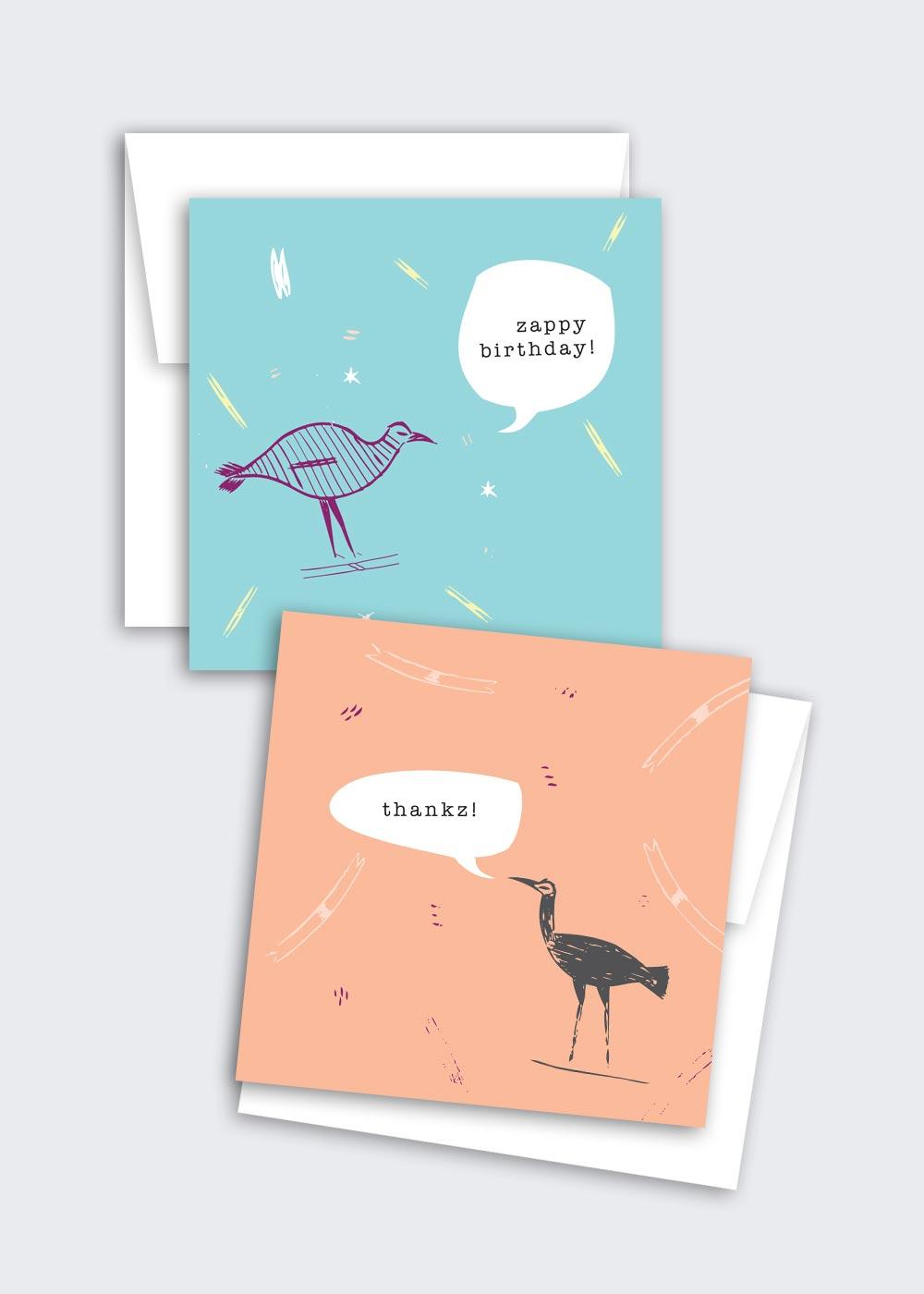 Zinni & Zanni (quirky bird sayz…) – mixed card set (thankz, congratz, zappy birthday, zello or custom)
