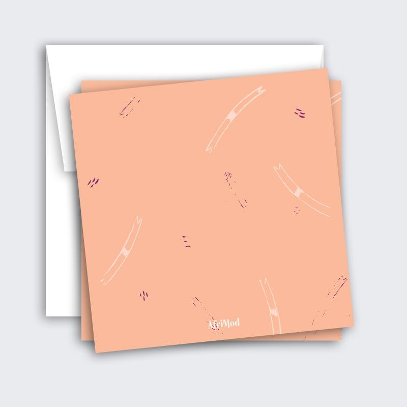 """Quirky Bird Birthday Card – """"happy bird-day"""" (mid-century mod peach)"""