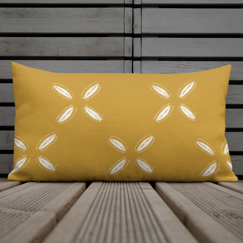 Lumbar Throw Pillow with Cowrie design