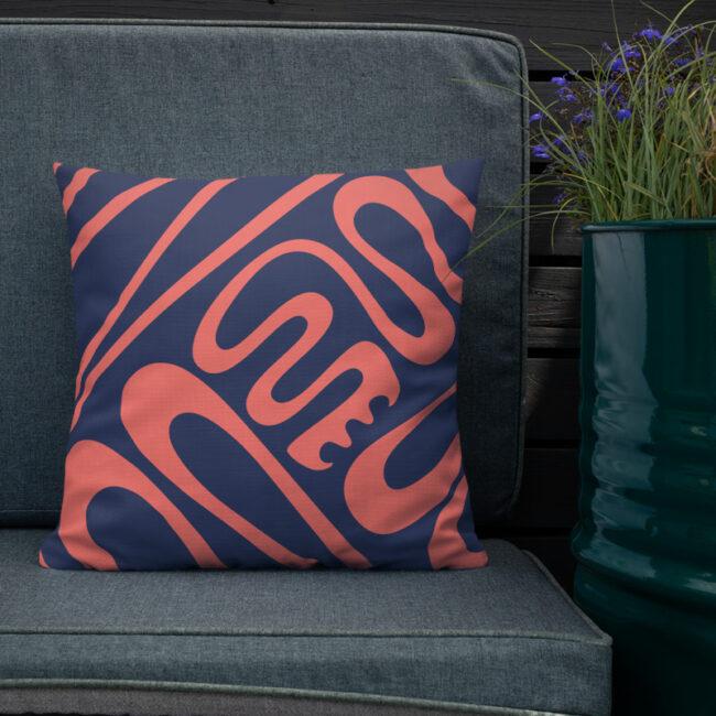 Hustle & Flow (sapphire & coral) – Tropical Modern Throw Pillow