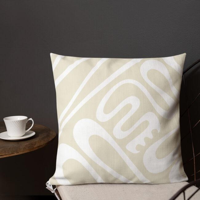 Creative Flow (cream & white) – Throw Pillow