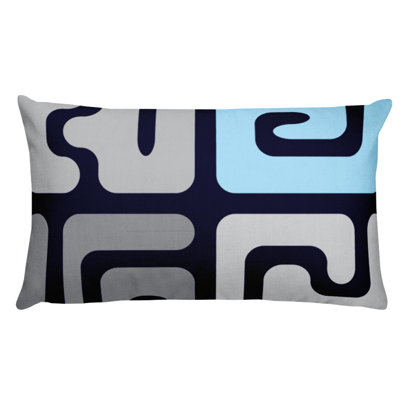 Blue Kuba – Kuba cloth inspired lumbar pillow