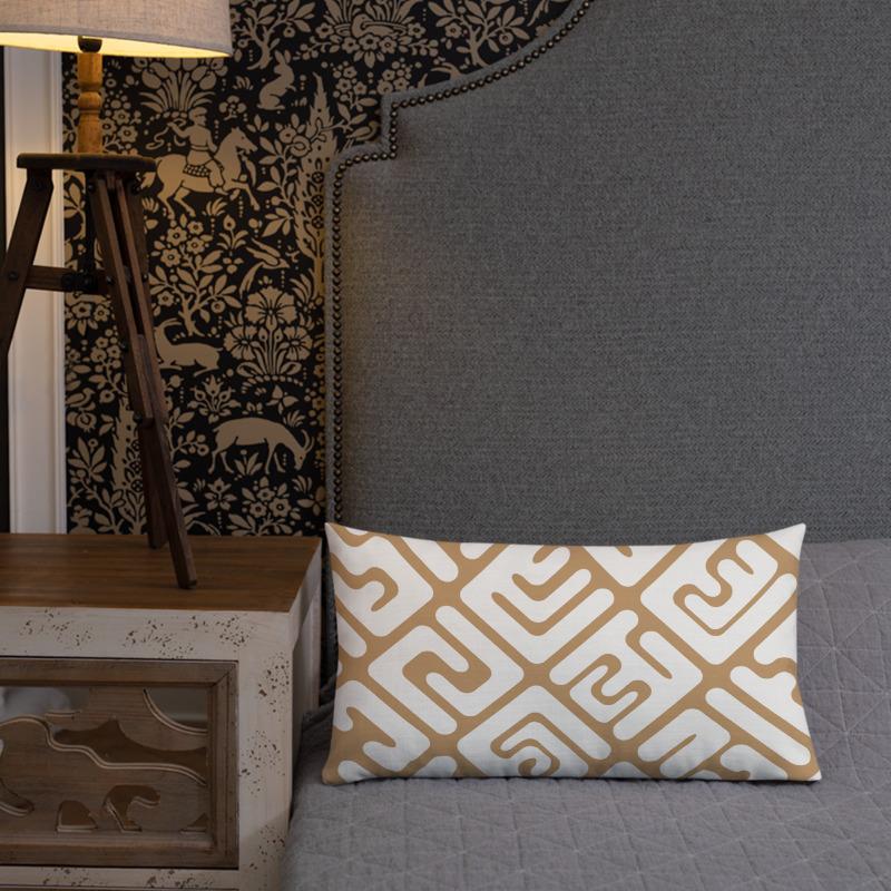 Kuba cloth inspired lumbar pillow in white & tan