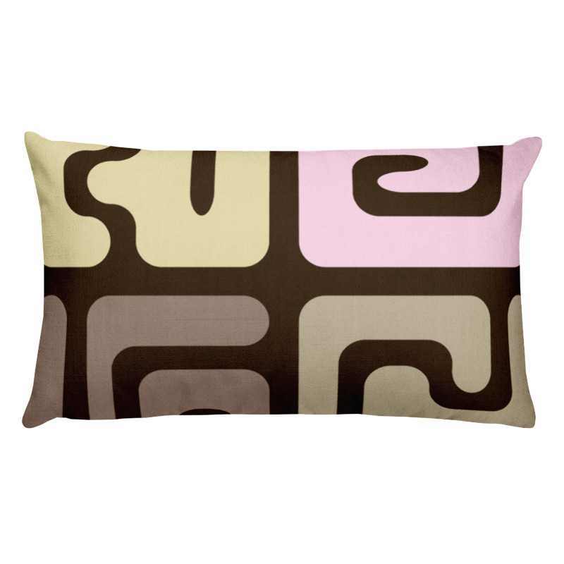 Modern Kuba Cloth Inspired Lumbar Pillow With Pop Of Pink