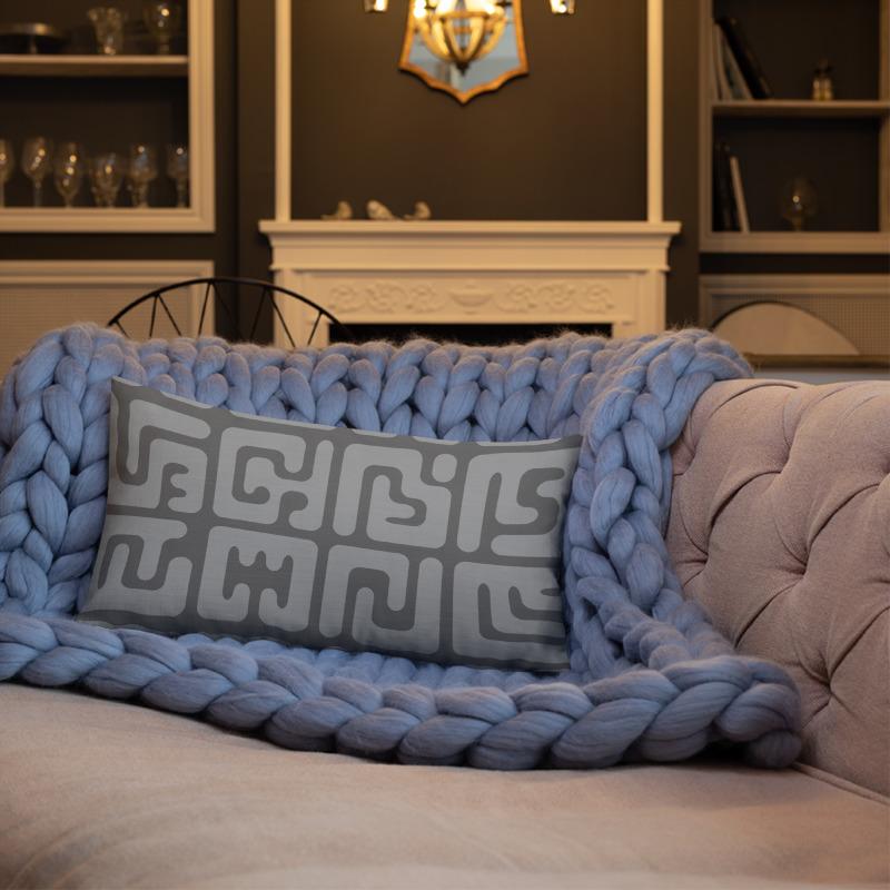 Modern Kuba cloth inspired lumbar pillow in grey