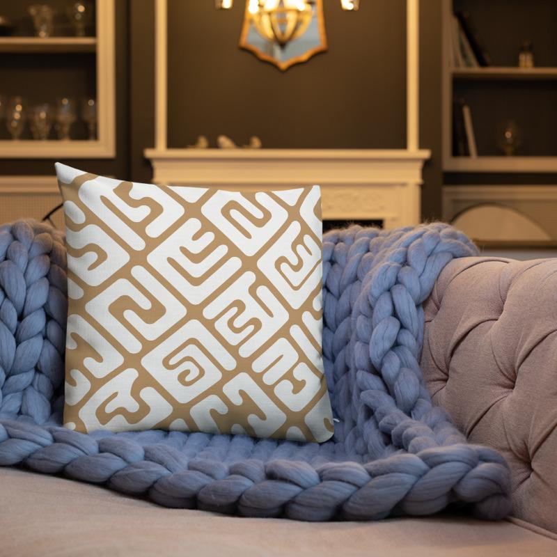 Modern Kuba cloth inspired square throw pillow in white & tan