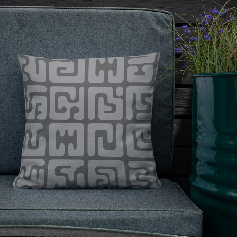 Modern Kuba cloth inspired square throw pillow in grey