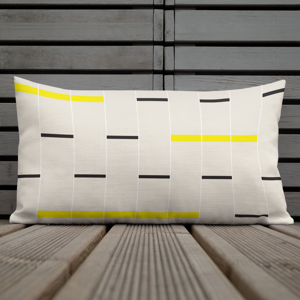 Minimalist Linear Design Lumbar Pillow in beige, black and yellow