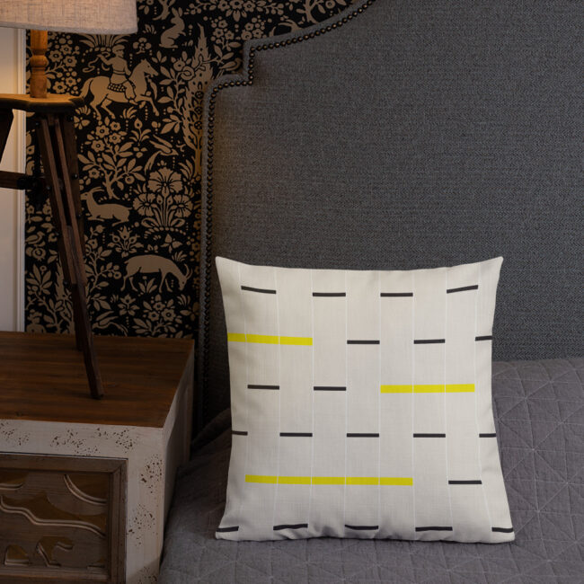 Minimalist Linear Design Pillow in beige, black and yellow