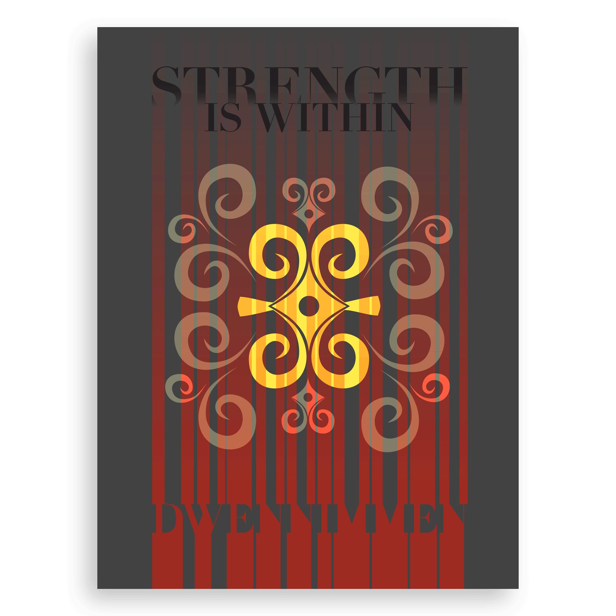 Inspirational Adinkra Graphic Print -Strength Is Within