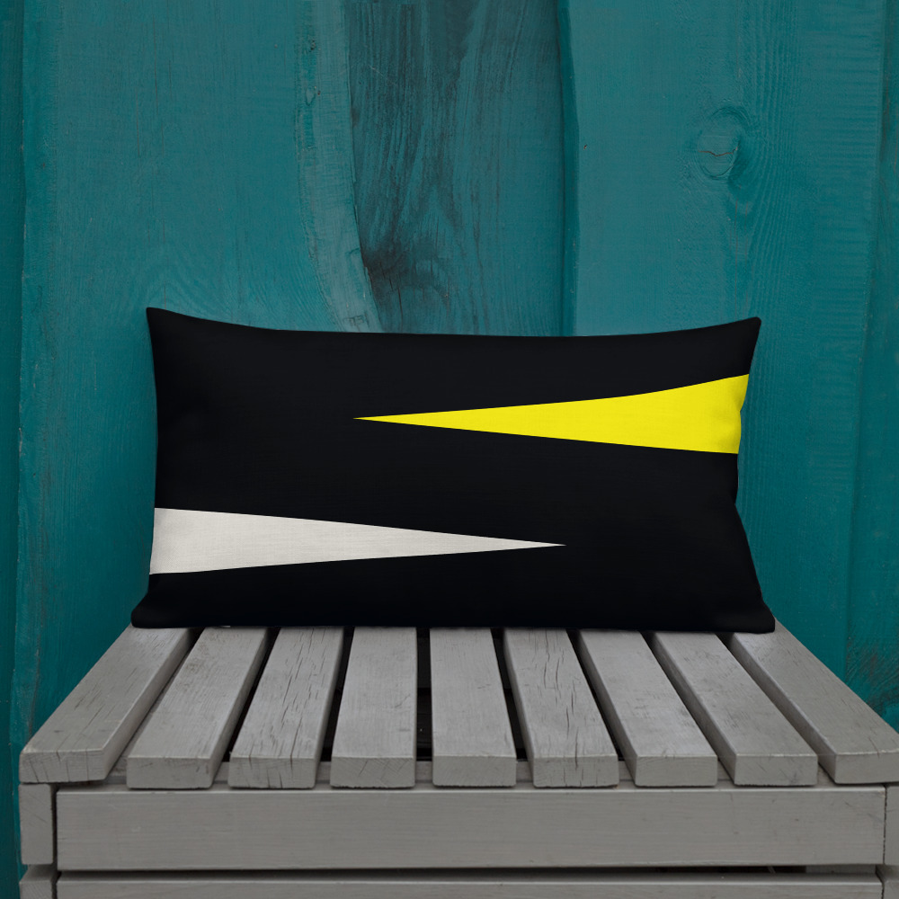 Shards of Color Minimalist Lumbar Pillow (yellow, teal or coral)
