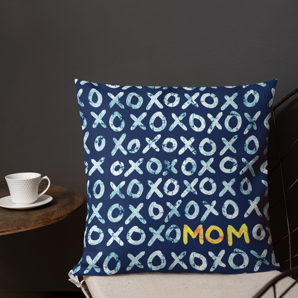 XOXO Mom – Batik-style Throw Pillow