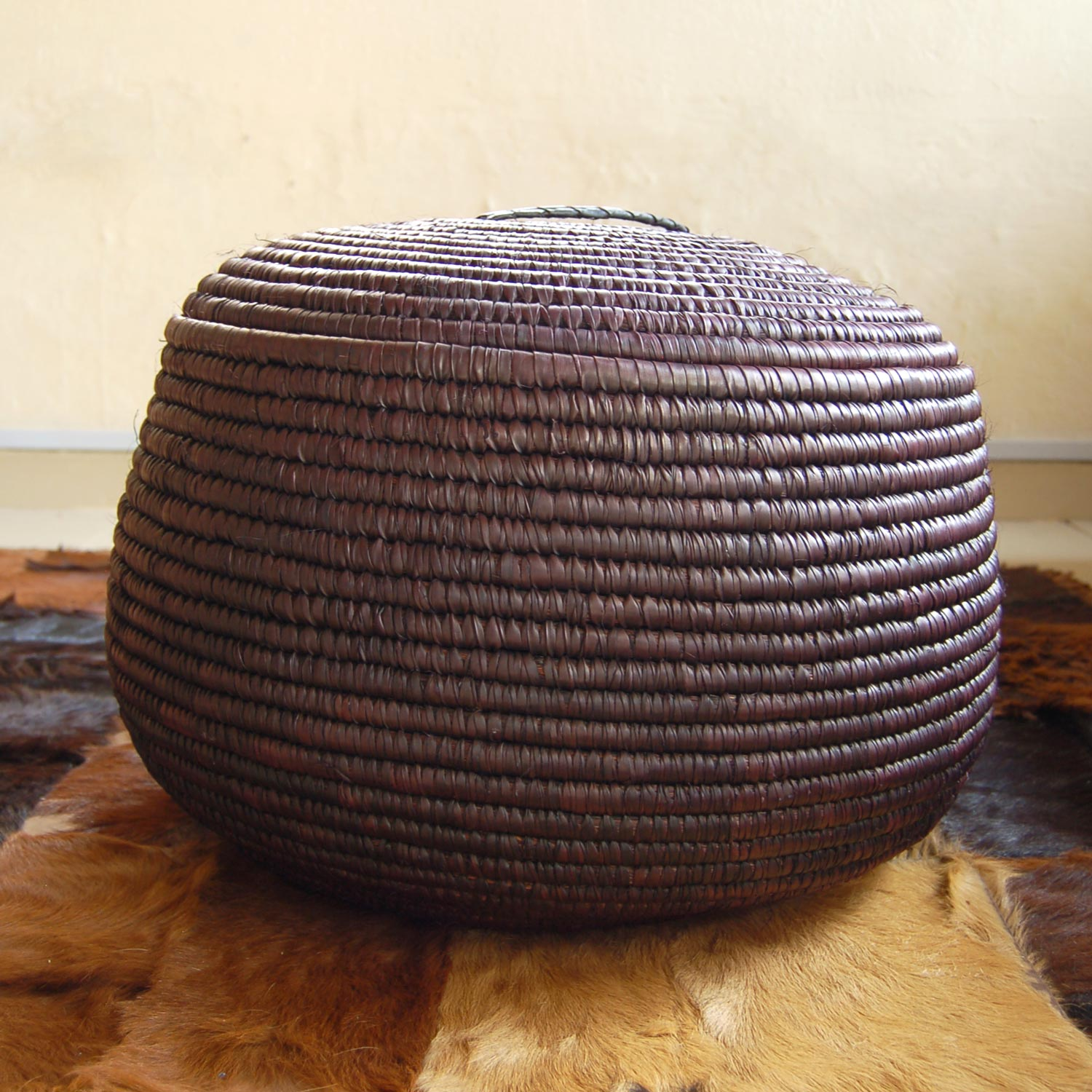 AfriMod Chocolate-Brown Lidded Storage Basket (~19in)