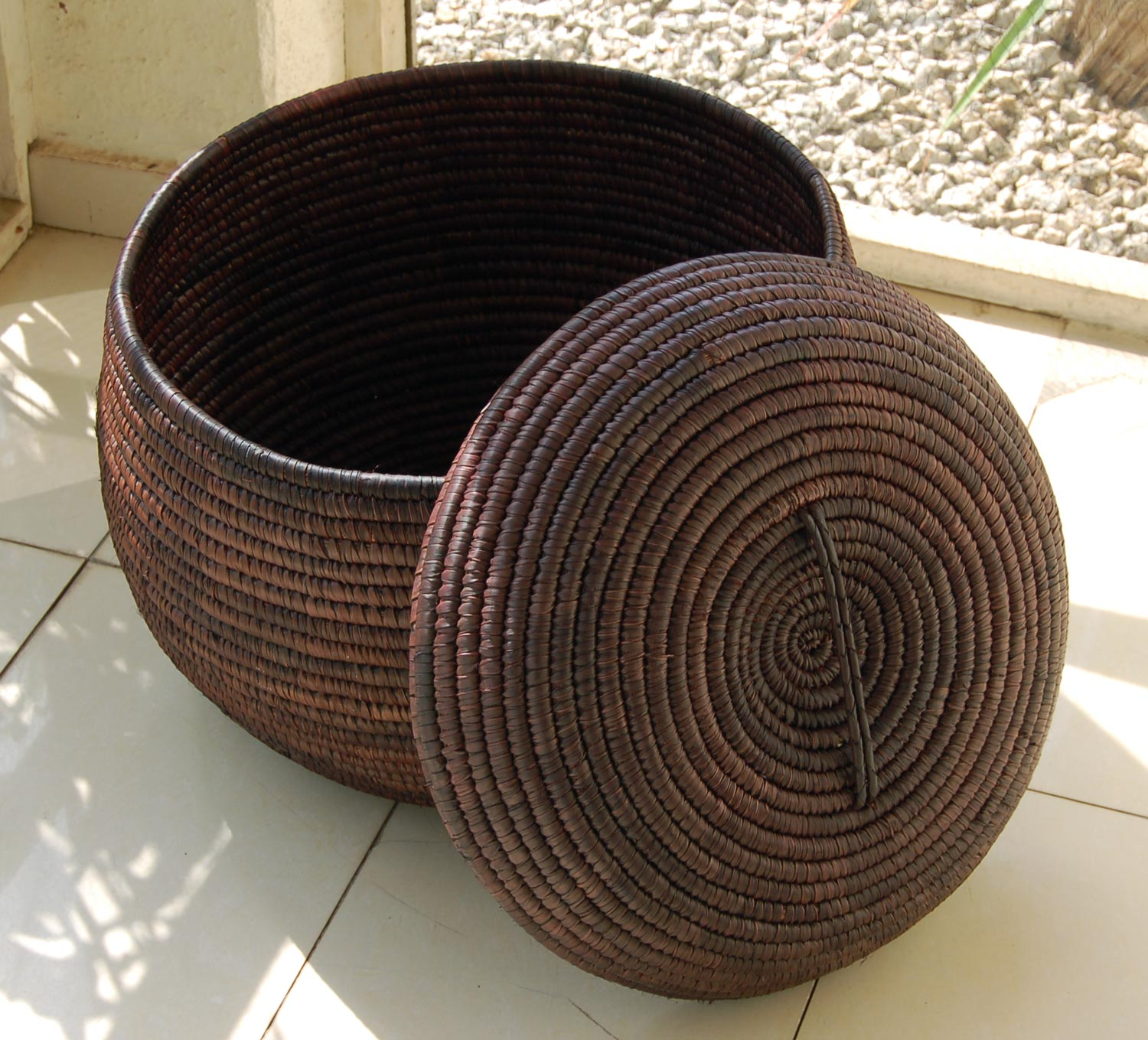 AfriMod Chocolate-Brown Storage Basket (~19in lidded basket)