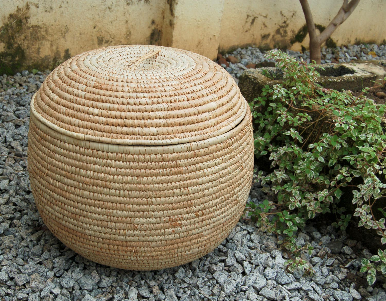 AfriMod Natural (Large Lidded Storage Basket ~18.5in)