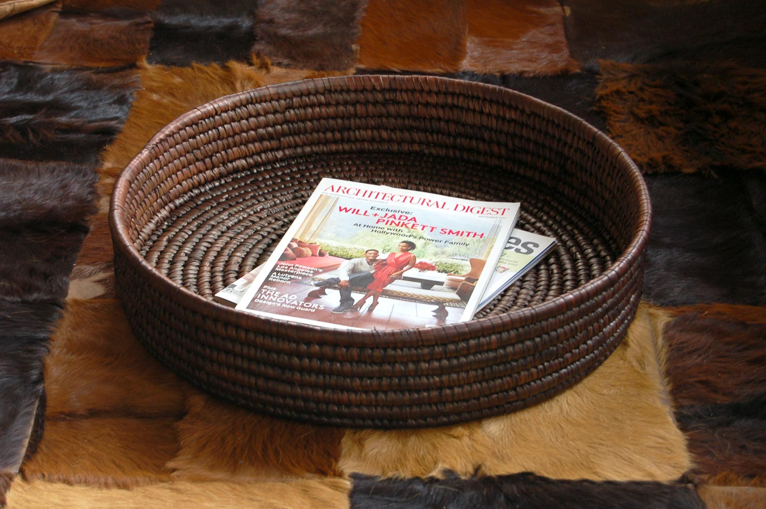AfriMod Woven Basket Platter ~20in (large chocolate brown tabletop / floor basket tray)