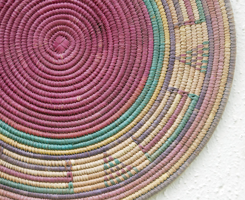 Colorful Vintage African Flat Basket ~13.75in