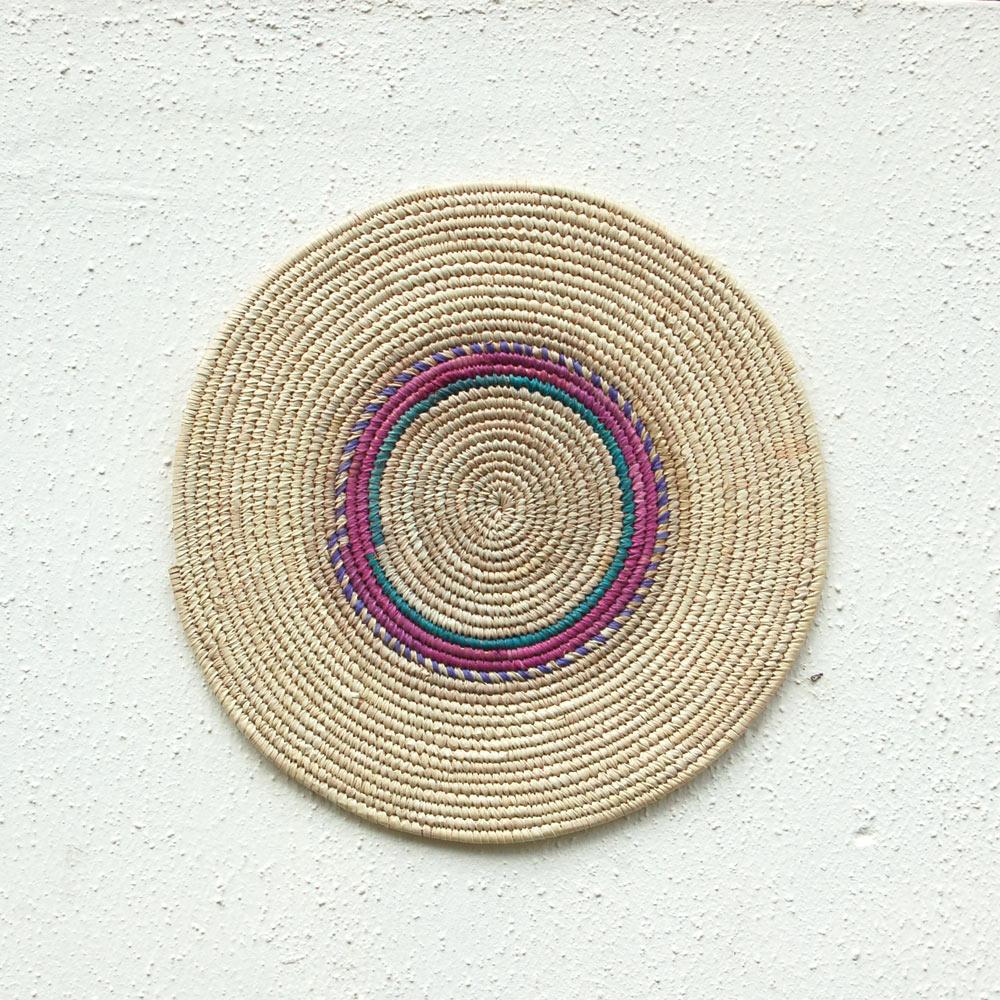 Pretty Pink, Green & Purple African Flat Basket ~15in