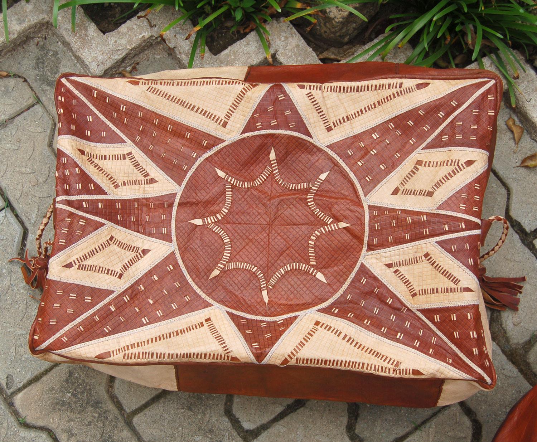 Bello Tan (Rectangular) – Hausa Leather Pouf