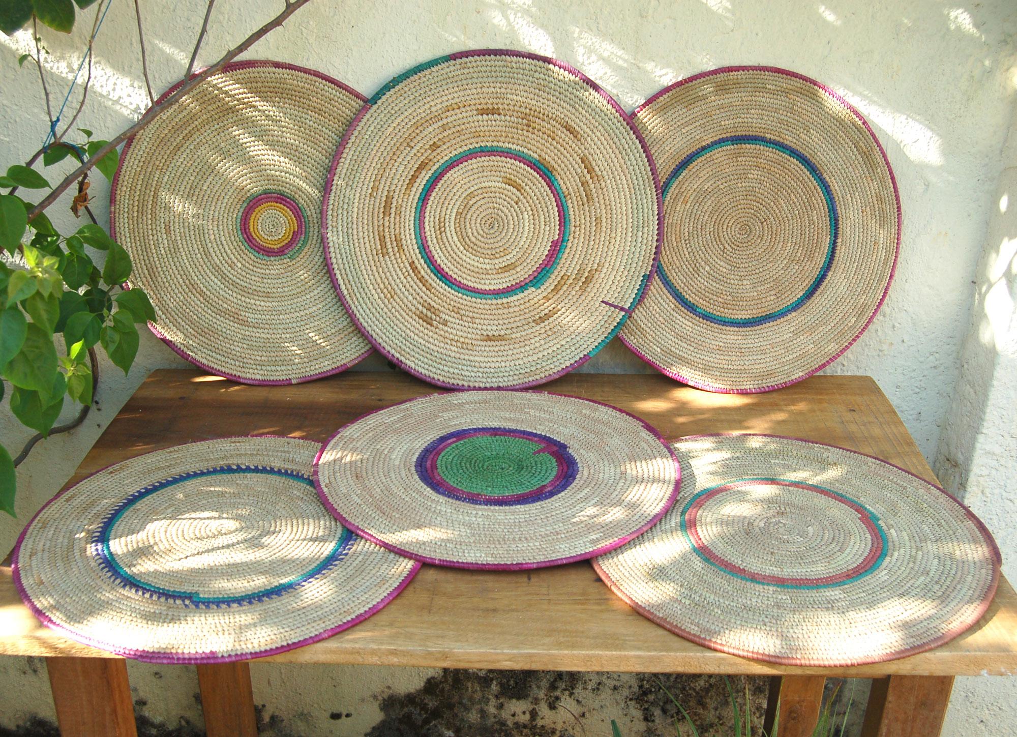 6 Piece Flat Basket Set African Wall Baskets Afrimod