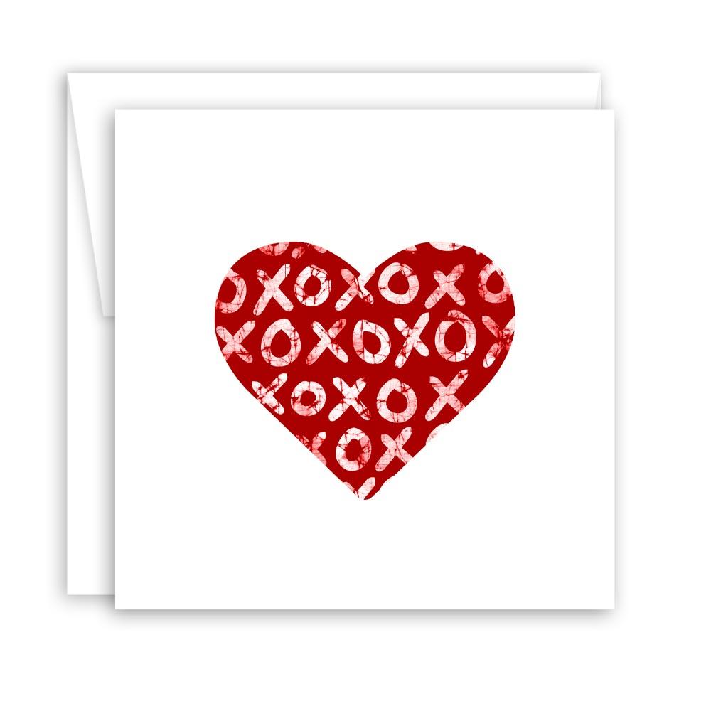 Hugs & Kisses Heart – Blank Notecard