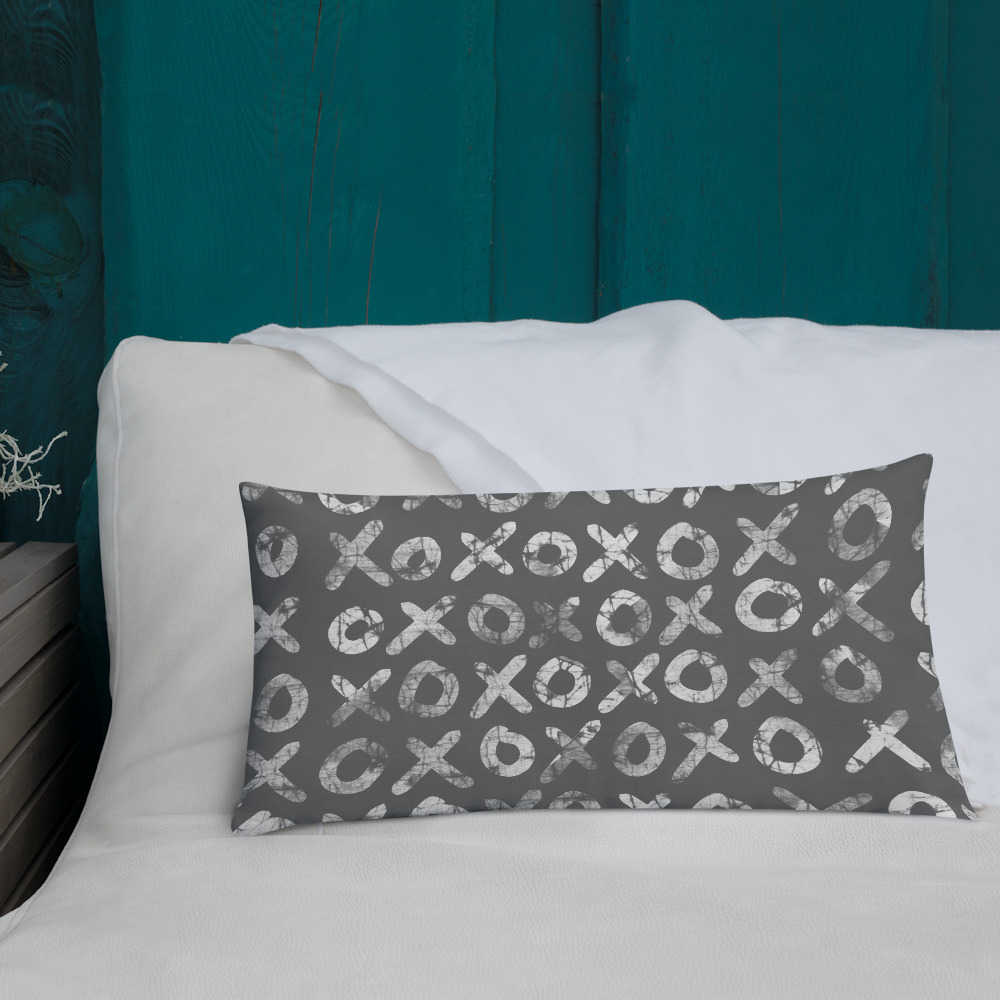Hugs + Kisses Lumbar Pillow – batik style print