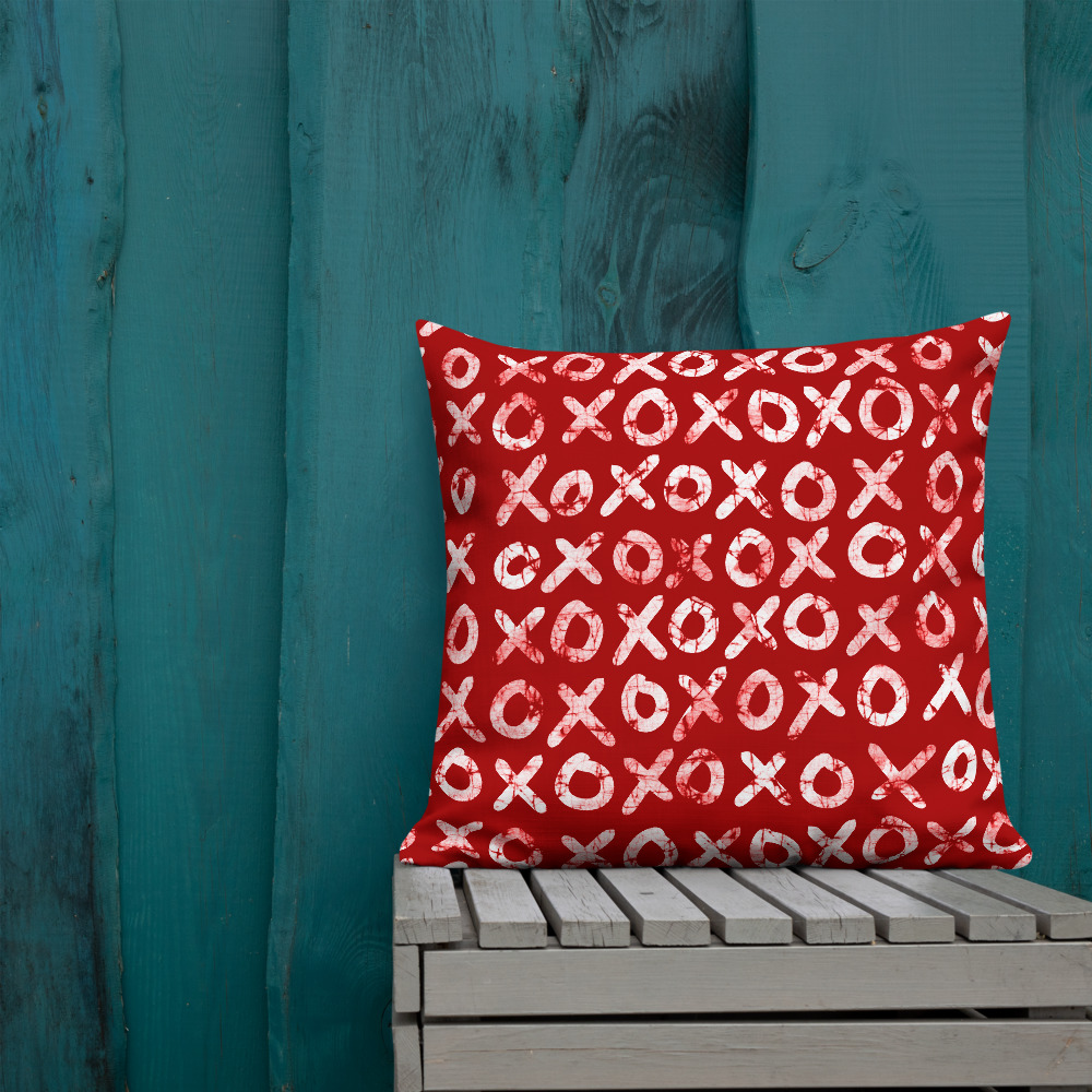 Hugs + Kisses Square Throw Pillow – batik style print