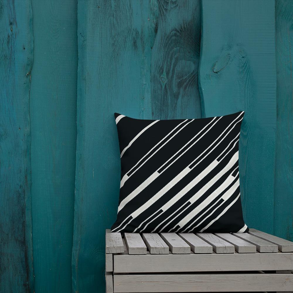 Black and White Diagonal Striped Pillow