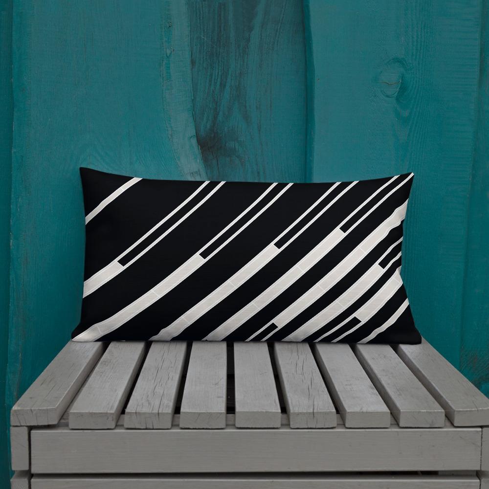 Black and White Diagonal Striped Lumbar Pillow