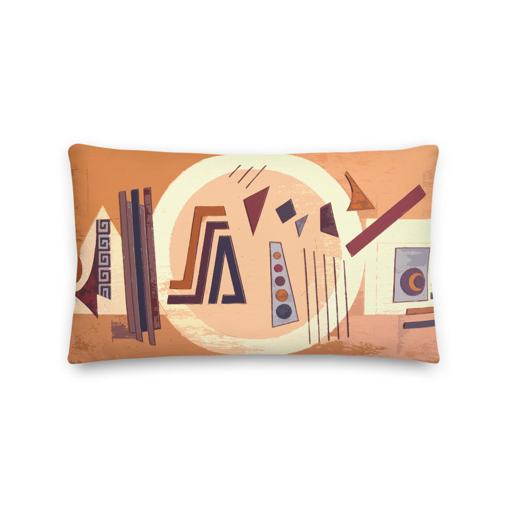 Abstract African Art Print Lumbar Pillow