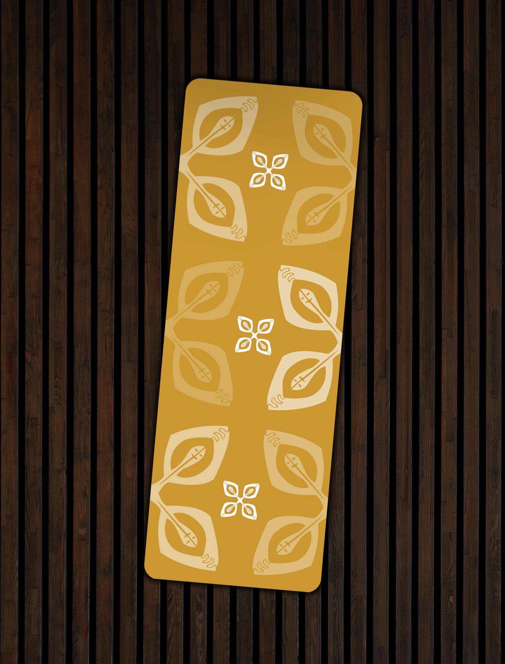 "Mustard Yoga Mat featuring African Adinkra Symbol for Unity (Nsirewa) | ""Happy Together"""
