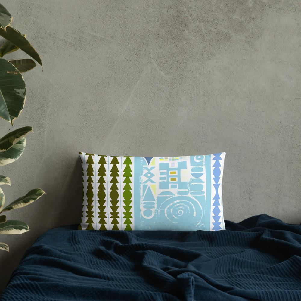 African Art Lumbar Throw Pillow in  'Pastel Grunge'