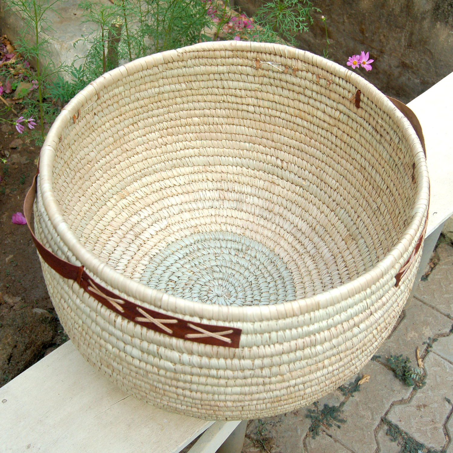 AfriMod Natural #3: Classic Cross-Stitch – Large Lidded Storage Basket