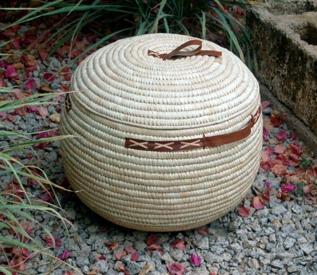 AfriMod Natural #3: Classic Cross-Stitch – Large Lidded Storage Basket