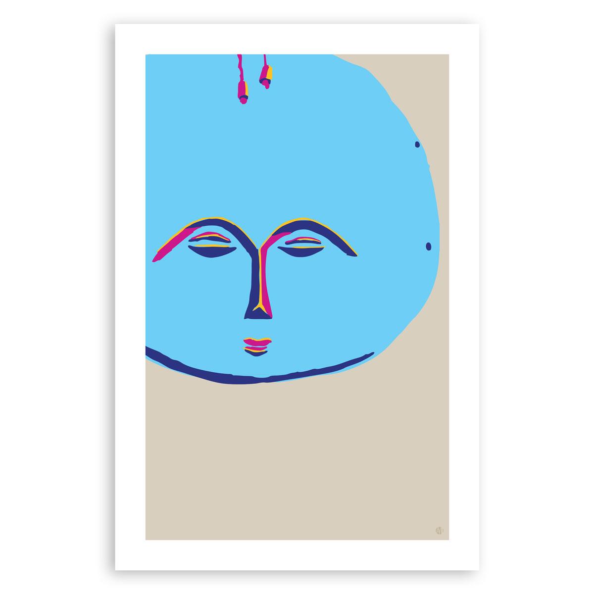 Akua'ba in Blue – Akua'ba doll art print