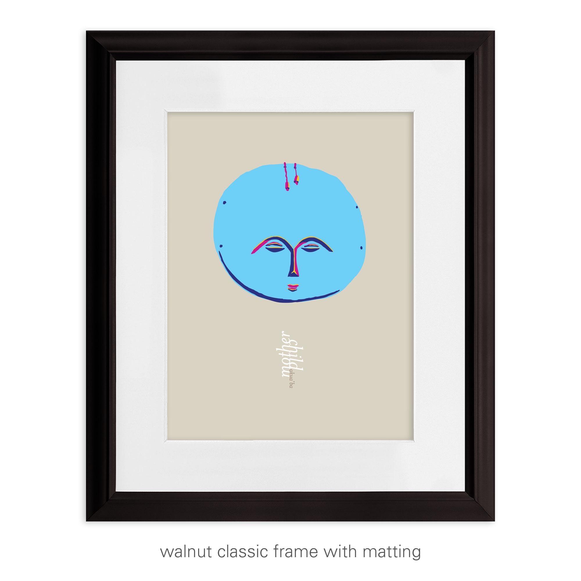 Akua'ba in Blue: Celebrating Mother & Child – unframed / framed / canvas print
